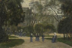 Nuns and Schoolgirls in the Tuileries Gardens, Paris, 1870S-1880S by Stanislas Lepine