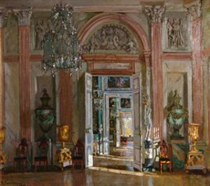 The Great Vestibule in the Kuskovo Palace, 1917 by Stanislav Yulianovich Zhukovsky