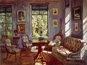 The Sitting Room in the Manor House Rozhdestveno, 1916 by Stanislav Yulianovich Zhukovsky