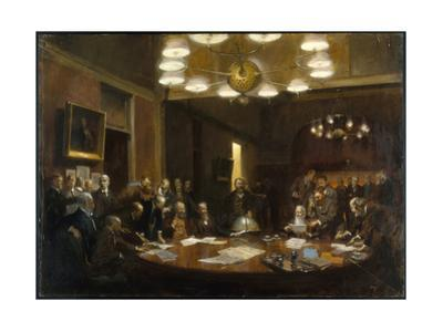 A Painting Depicts the Founding of the National Geographic Society by Stanley Meltzoff