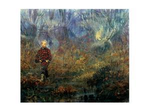 Moose Hunt: a Young Boy on His First Hunt Passes by a Bog Filled with Watchful Moose by Stanley Meltzoff