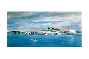 Shark River Bridge: Two Fisherman in a Small Boat Approach the Bridge with its Arched Underpasses by Stanley Meltzoff