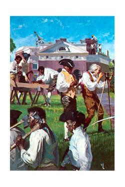 Thomas Jefferson with His Servants and Slaves in Constructing Monticello by Stanley Meltzoff