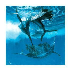 Three Acrobats and Needlefish, 1978 by Stanley Meltzoff
