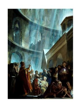 Victorious Crusaders Kneel in the Church of the Holy Sepulcher by Stanley Meltzoff