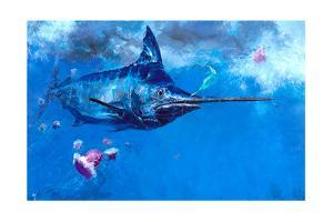 Wet Fly and Blue Marlin, Bill Wrapped with Cyanea Jellies: Giant Blue Marlin and a Salt Water Fly by Stanley Meltzoff