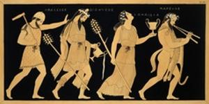19th Century Antique Vase Illustration of Dionysus and Three Figures by Stapleton Collection