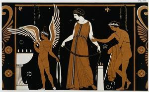 19th Century Greek Vase Illustration of Eros Before an Altar with a Woman by Stapleton Collection