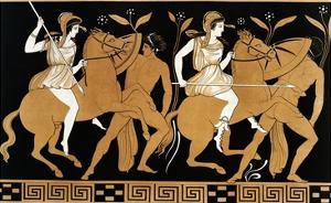 19th Century Greek Vase Illustration of Two Amazons on Horses After Two Youths by Stapleton Collection