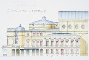 Architectural Drawing Showing Lateral Elevation of Theatre Building by H. Monnet by Stapleton Collection