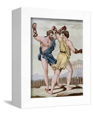 Color Print from Engraving Showing Gladiators Boxing by Jacques Grasset de Saint-Sauveur and L.F. L by Stapleton Collection