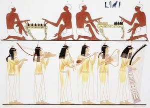 Illustration of Egyptian Frescoes of Game Playing and Music Making by Frederic Cailliaud by Stapleton Collection