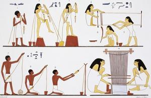Illustration of Egyptian Frescoes of Spinning Thread and Weaving by Frederic Cailliaud by Stapleton Collection