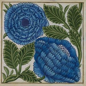 Large Blue Flower Watercolor Tile Design by William de Morgan by Stapleton Collection