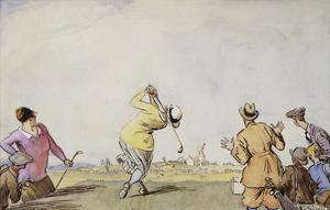 Late Edwardian Golfing Scene by Stapleton Collection