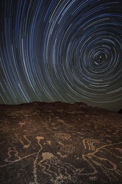 Star Trails at an Ancient Petroglyph Site Near Bishop, California