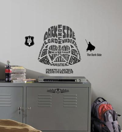 Star Wars - Typographic Darth Vadar Peel and Stick Giant Wall Decal