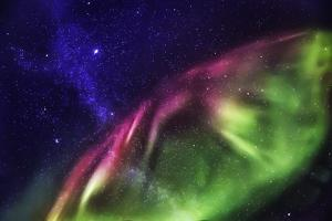 Starry Evening with the Aurora Borealis or Northern Lights and the Milky Way Galaxy, Abisko