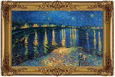 Starry Night Over the Rhone Poster with Gilded Faux Frame Border
