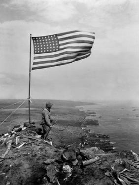 Stars and Stripes Wave over the Summit of Mt. Suribachi on Iwo Jima