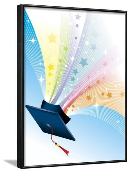 Stars Coming from Graduation Cap--Framed Photo