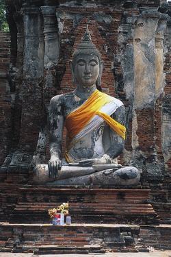 Statue of Buddha, Wat Mahathat, Ayutthaya (Unesco World Heritage List, 1991), Bangkok, Thailand