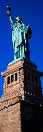 Statue of Liberty against blue sky, New York City, New York State, USA