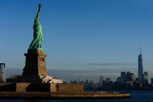 Statue Of Liberty with city in the background, Manhattan, New York City, New York State, USA