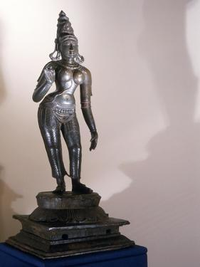 Statue of Parvati Identified by the Tall Conical Crown (Katakamundra), Reincarnation of Sati and…