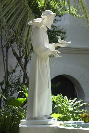 Statue of Saint Francis of Assisi in the Garden of San Diego Mission, California