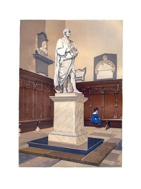 Statue of Sir Isaac Newton in the Chapel of Trinity College, Cambridge, C1850