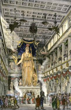 Statue of the Goddess Athena Inside the Parthenon, Ancient Athens