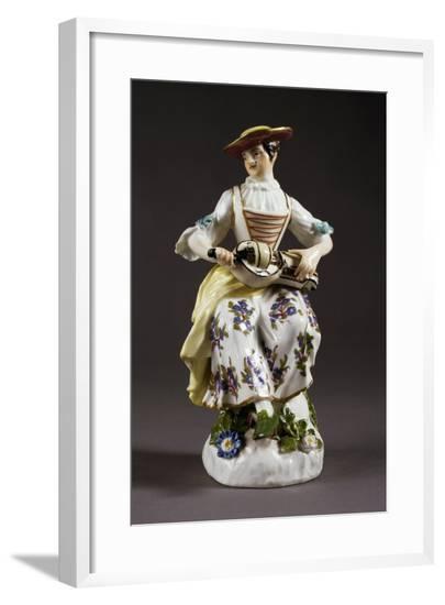 Statuette Depicting Colombine with Hurdy-Gurdy-Johann Joachim Kandler-Framed Giclee Print