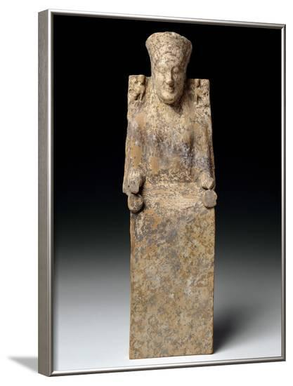 Statuette of an Enthroned Goddess, Ca 550 BC--Framed Photographic Print