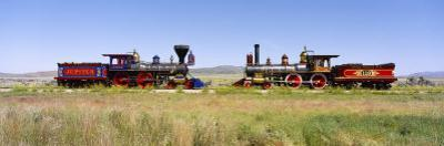 Steam Engine Jupiter and 119 on a Railroad Track, Golden Spike National Historic Site, Utah, USA