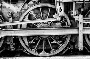 Steam Locomotive Wheels B&W