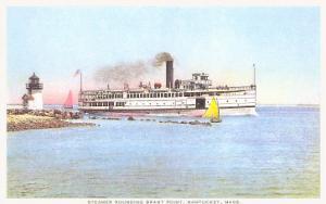 Steamer Rounding Brant Point, Nantucket, Massachusetts