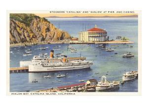 Steamers at Pier, Casino, Catalina, California