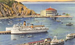 Steamers at Pier, Casino, Catalina, California