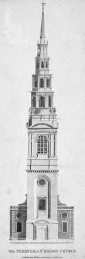 Steeple of St Bride's Church, Fleet Street, City of London, 1795