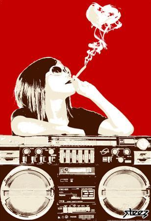 Steez Boombox Joint - Red Art Poster Print