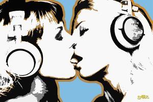 Steez Girls Kissing Art Poster Print