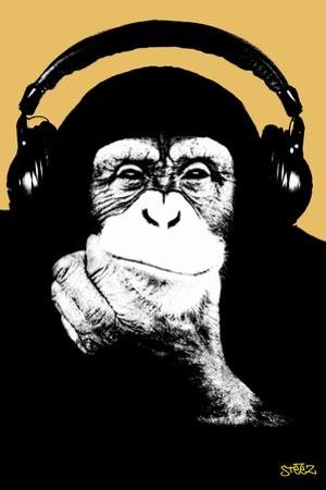 Headphone Chimp - Gold by Steez