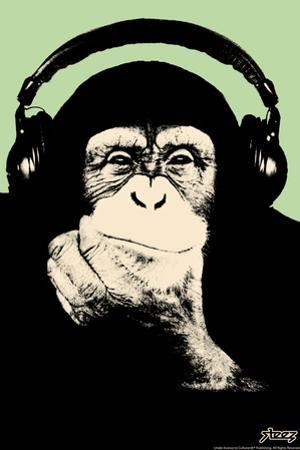 Steez Headphone Chimp - Green Art Poster