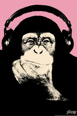 Headphone Chimp - Pink by Steez
