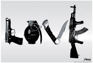 Love (Weapons) Black & White Steez Poster by Steez
