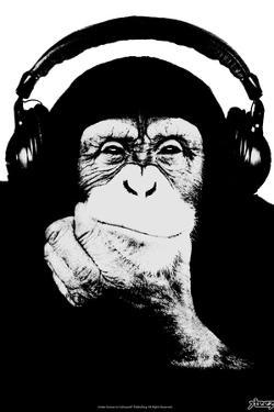 Steez Monkey Headphones BW Poster