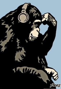 Steez Monkey Thinker - Blue Art Poster Print