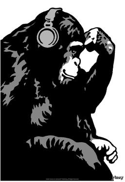 Steez Monkey Thinker BW