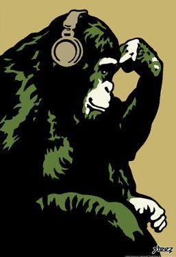 Steez Monkey Thinker - Gold Art Poster Print